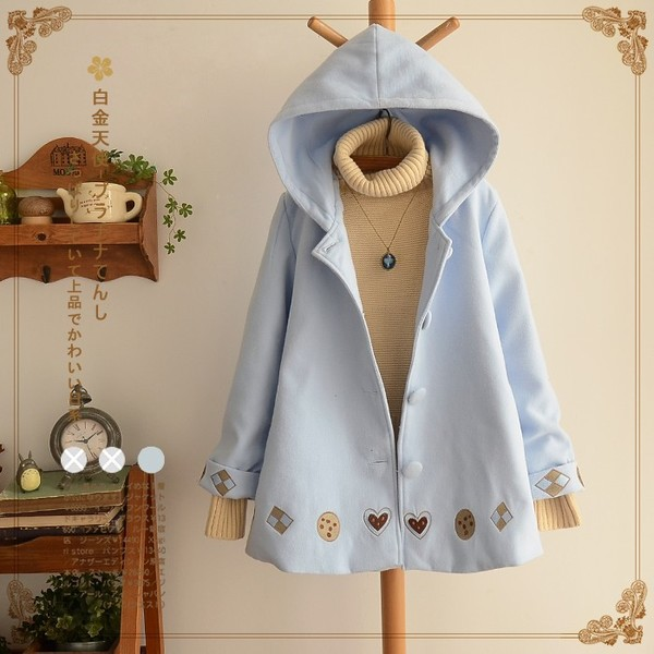 甘いカラー フード付きコート 柔らかいコート ...
