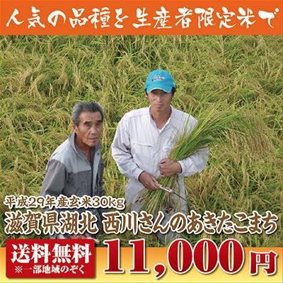 【29年産新米】西川さんのあきたこまち玄米30kg【...