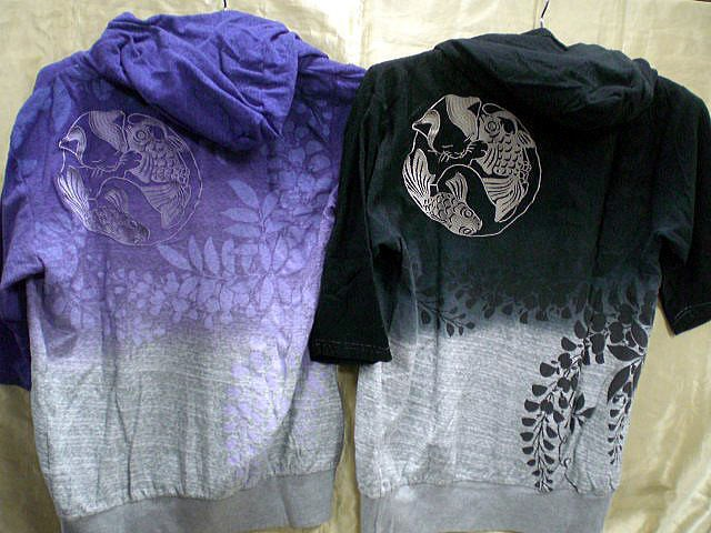 錦 和柄 5分袖パーカー 鯉に眠り猫刺繍 NISH...