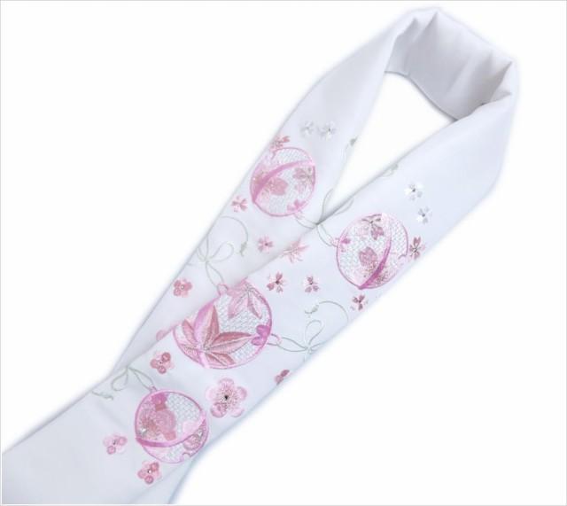 刺繍&ラインストーン半衿半襟白地鈴楓桜梅ピンク...