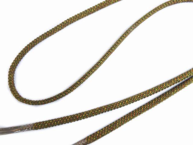 正絹色糸入り組み帯締め帯〆カーキ緑色 小紋・紬...