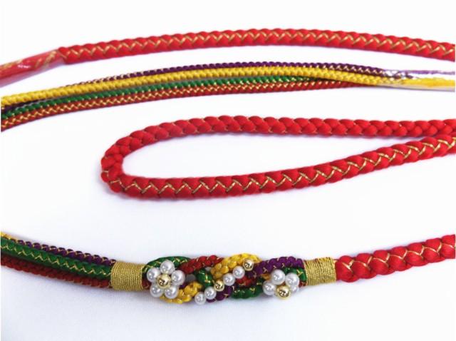 パール飾り付先割れ正絹帯締め帯〆赤色 振袖成人...