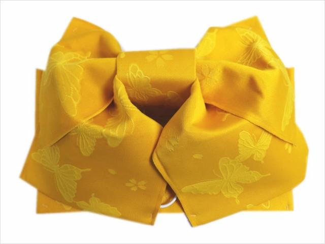 簡単浴衣ゆかた柄結び帯付け帯作り帯黄色地蝶小桜...