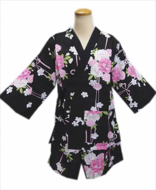 女性レディース用甚平じんべい黒色地八重桜菊桜リ...