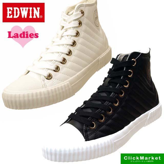 [送料無料]エドウィン EDWIN ED-402 キルティング スニーカー ハイカット 0402 レディース