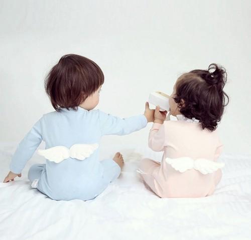 天使の羽 ロンパース ♡ スカイブルー ピン...