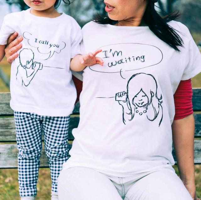 ママとパパとキッズのリンクコーデ 糸電話Tシャツ...