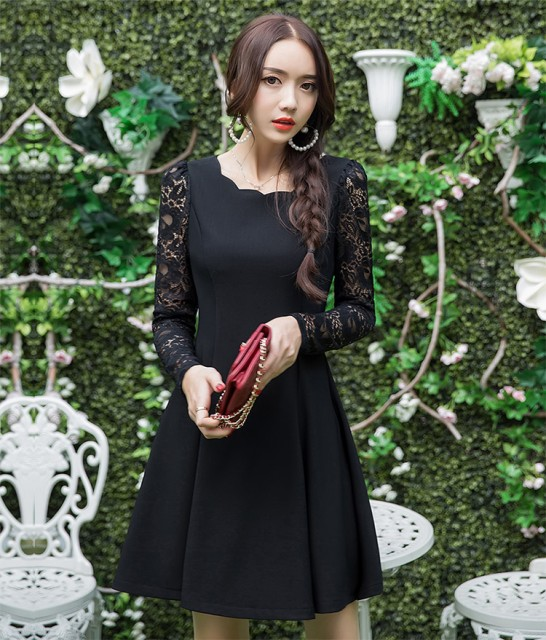 【再入荷】結婚式パーティードレス袖ありお呼ばれ...
