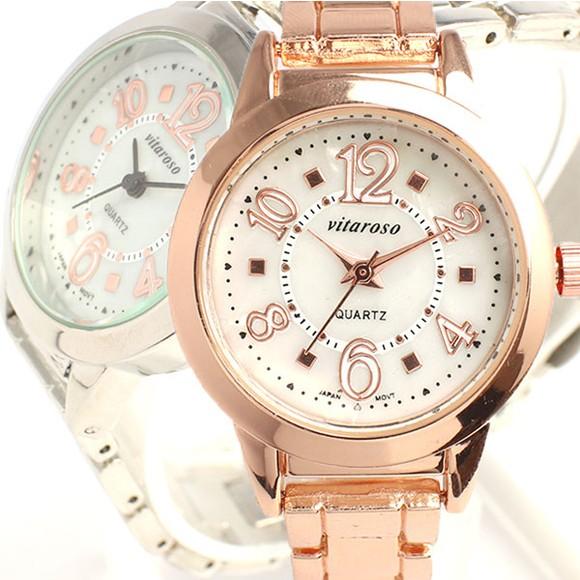 レディース腕時計 ホワイトシェル文字盤 メタル...