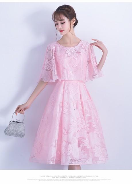ピンク パーティードレス  ミディアムドレス  二...