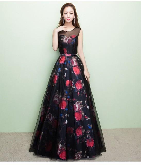 可愛い花柄ロングドレス/イブニングドレス/大きい...