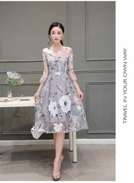 エレガント 大人しいドレス フレアワンピース Aラ...