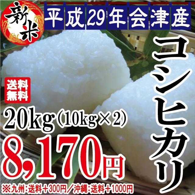 新米 コシヒカリ 20kg(10kg×2)会津産 29年産 ...
