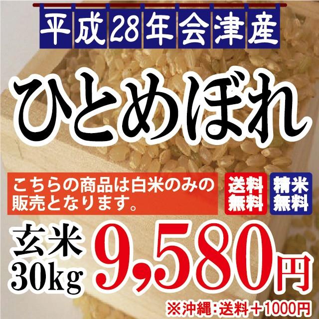 ひとめぼれ 玄米 30kg 会津産 28年産 お米【佐川...