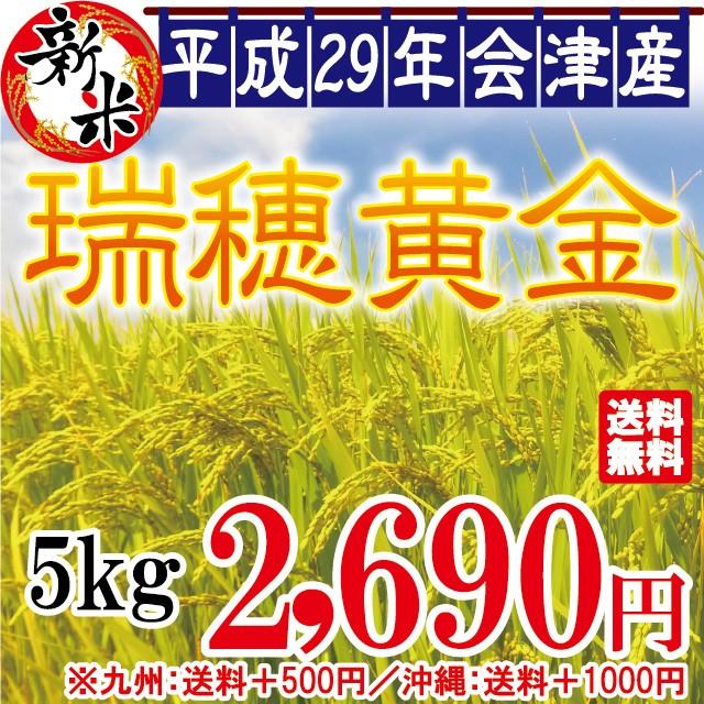 新米 瑞穂黄金 白米 5kg 会津産 29年産 お米 ※九...