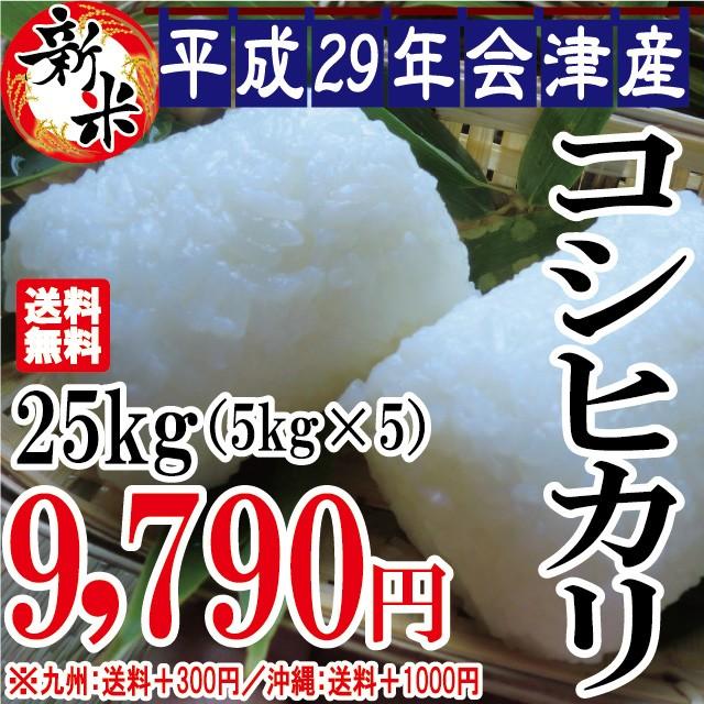 新米 コシヒカリ 25kg(5kg×5)会津産 29年産 お...