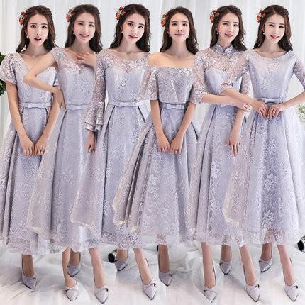 グレー 6デザイン入荷 パーティーロング ドレス...