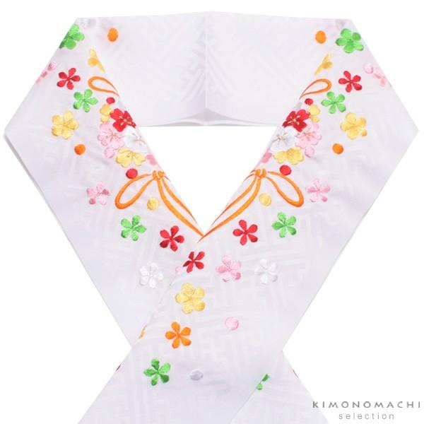 【あす着対応】 刺繍 半衿「白色 オレンジ花薬玉...