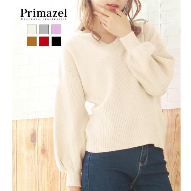 【Primazel/プリマゼル】全6色 ふんわりVネックボ...