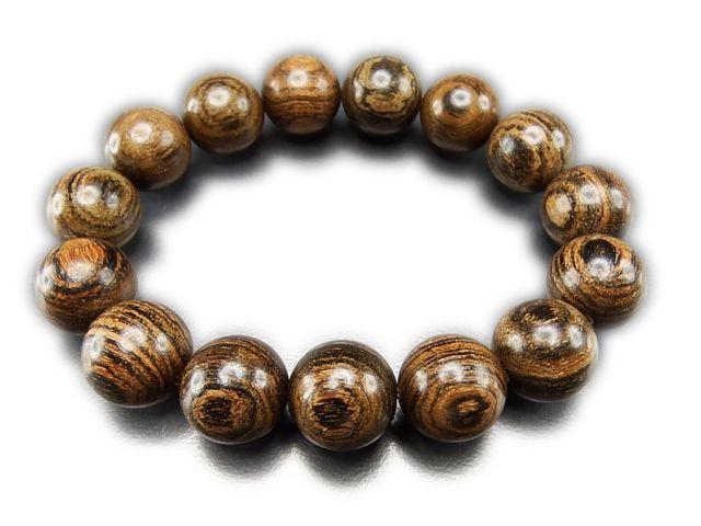 石街虎紋檀木大玉15mm木製数珠ブレスレット