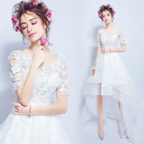 6e8e19e57dc26 ドレス 二次会 ミニドレス レース 花嫁 アシンメトリー 編み上げタイプ 長身 ウエディングドレス ミニドレス・結婚