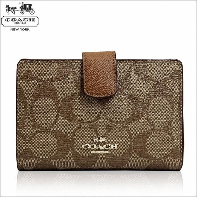 [あす着]コーチ COACH 財布 二つ折り財布 カーキ ...