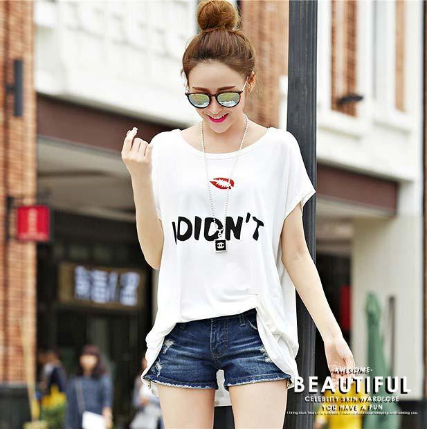 大きいサイズ レディース/ゆったりTシャツ 英字...