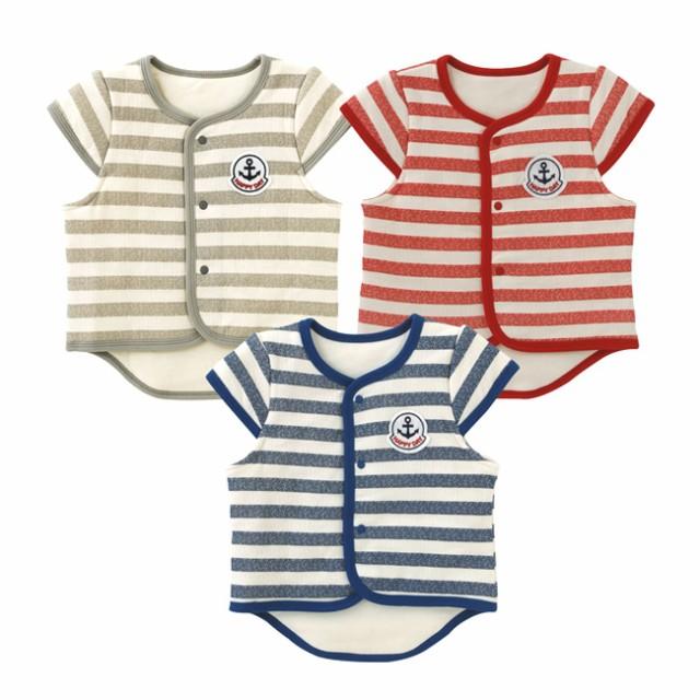 e2c6cd04ffe48 ベビー服 赤ちゃん 服 ベビー ベスト 男の子 女の子 70 80 90 出産祝い ボーダー袖付きサイズ