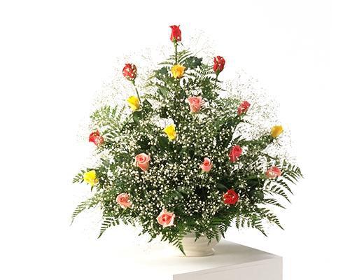 ミックスのバラとカスミソウのアレンジ