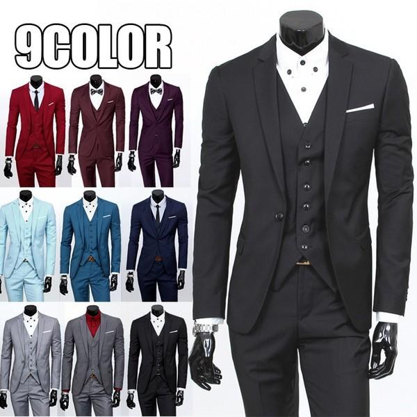 高品質 結婚式★3ピーススーツ 9色 メンズセッ...