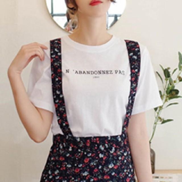 ロゴTシャツ シンプル かわいい ミディアム 半袖 ...