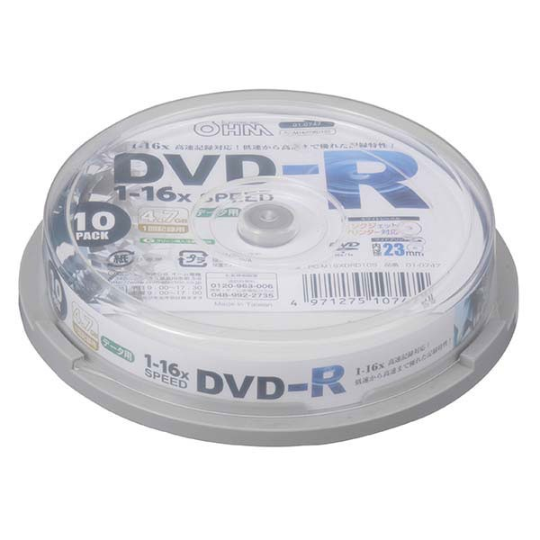 DVDーR データ用 16倍速 10P スピンドル PC-M16XD...