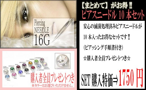 【メール便送料無料】ピアッシングニードル16G(1....