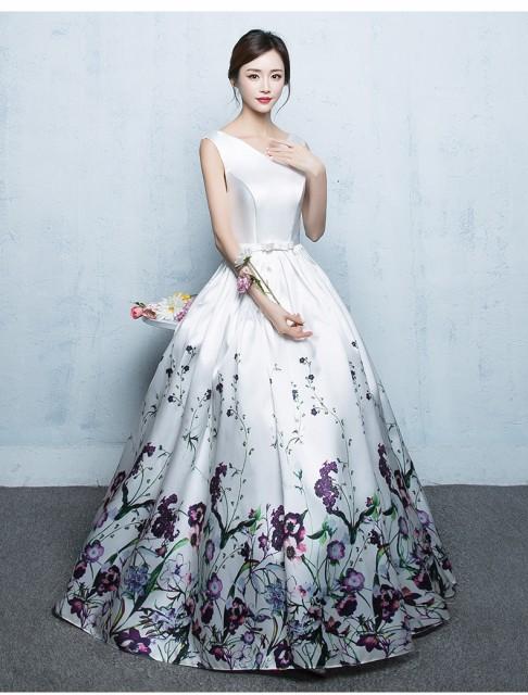 花柄ドレス 袖なしロングドレス パーティードレス...