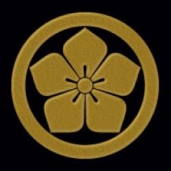 一般家紋蒔絵シール 13.丸に桔梗/GD