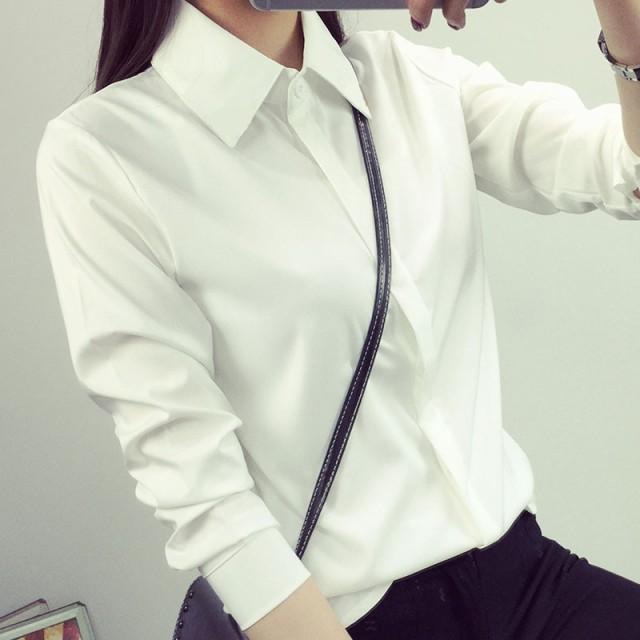 新しい秋/冬とカシミアの白シャツの女性長袖キャ...