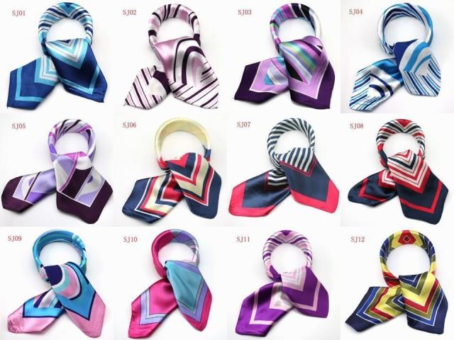 かわいいシルク調スカーフ 選べる99色スカーフ 最...