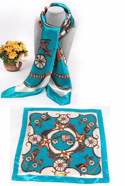 華麗なシルク調 花柄90角正方形大判スカーフ