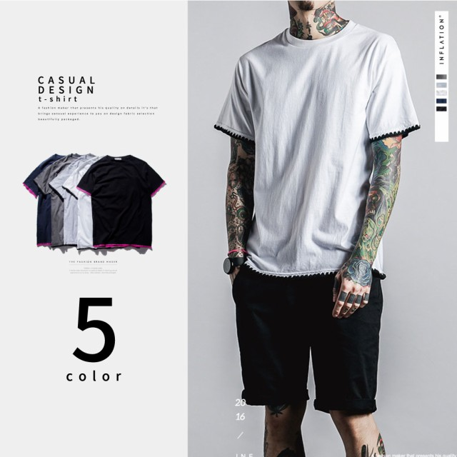 [無地Tまとめ割]Tシャツ 無地 メンズ 刺繍 白 黒 ...