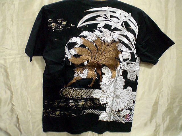 カラクリ魂  和柄 半袖Tシャツ 九尾の狐刺繍 KAR...