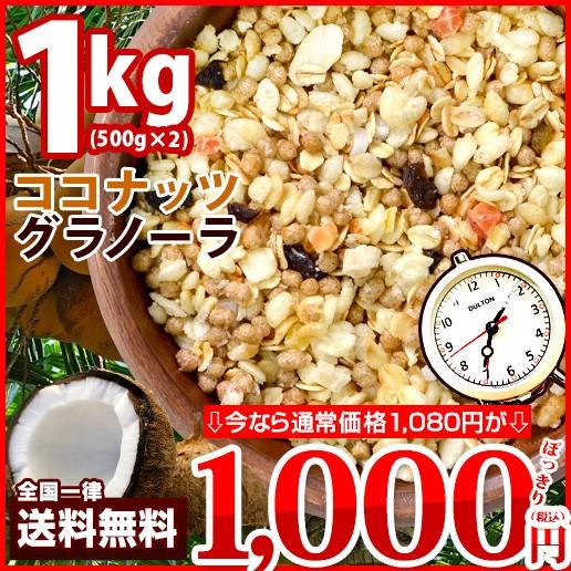 【お盆SALE】送料無料 ココナッツグラノーラ 1kg ...