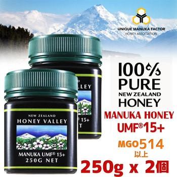 【送料無料】マヌカハニー UMF15+ 250g 2個セット 天然蜂蜜 ハニーバレー MGO514〜828相当 はちみつ