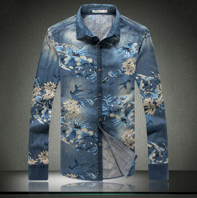 デニム長袖シャツ花柄シャツ メンズ 大きいサイズ...