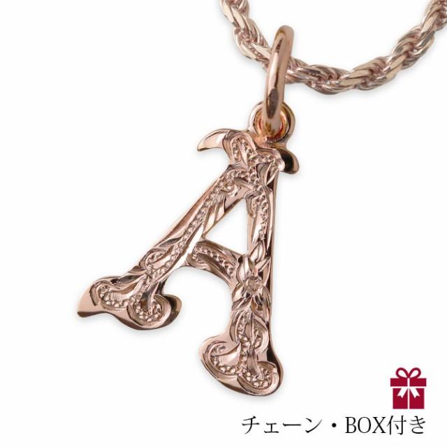SALE チェーンBOX付 イニシャルネックレス ピンク...