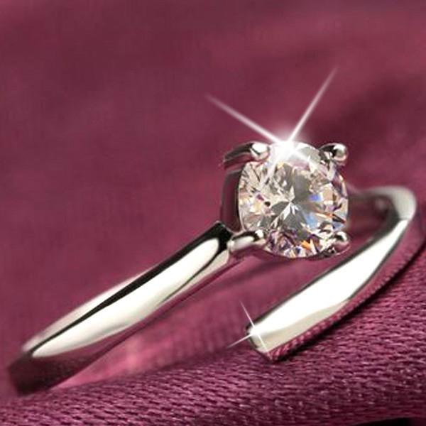 指輪 サイズフリー/一粒 リング/指輪/レディース/プラチナ仕上げ/シルバー925 人気 万能