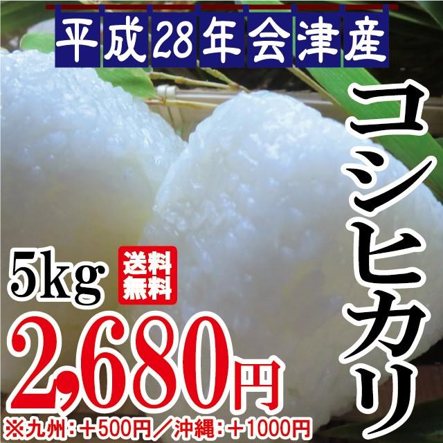 平成28年 会津産 コシヒカリ 5kg ※九州は別途500...