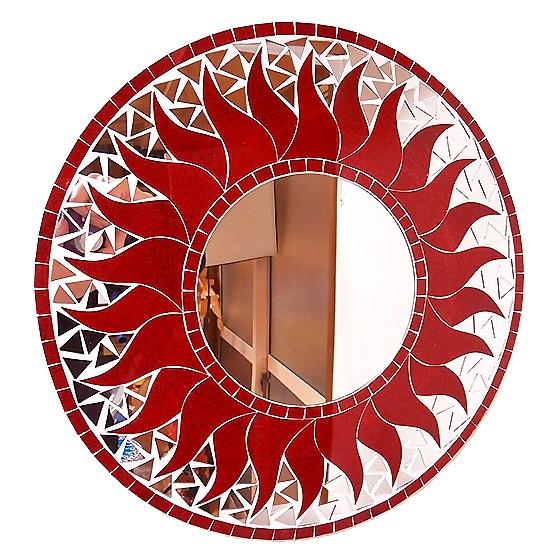 壁掛け バリ モザイクミラー 鏡 M D.40cm 丸型 レ...
