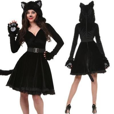 黒猫 女性 コスプレ 衣装 ハロウィン衣装 ア...