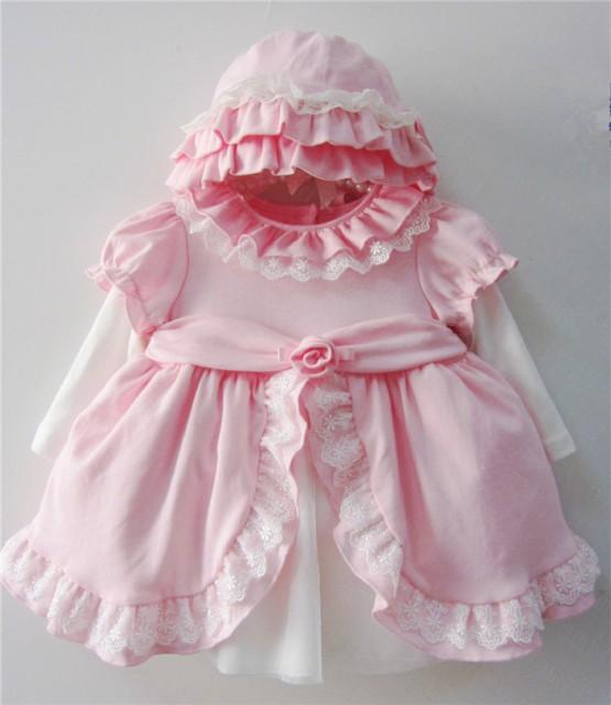 20c038d8813a0 即納 ピンク 6M-18M 帽子付き ベビードレス 子供ドレス ワンピース フォーマル 新生児服 リボン