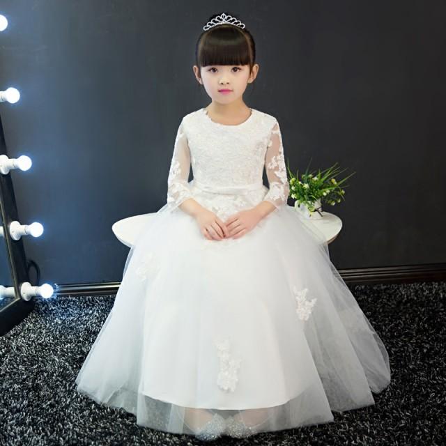 90-160CM/ホワイト 子供ドレス キッズドレス レ...